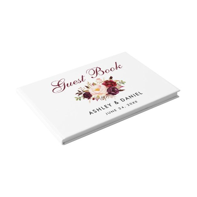 Watercolor Floral Burgundy Wedding Guest Book