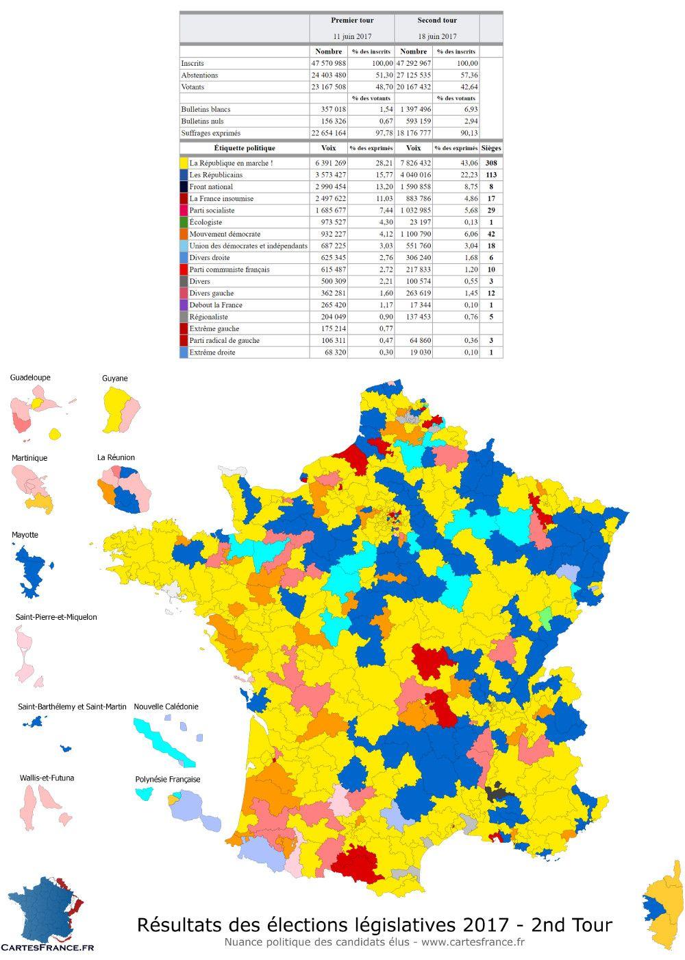 Carte Des Resultats Des Elections Legislatives 2017 2nd Tour