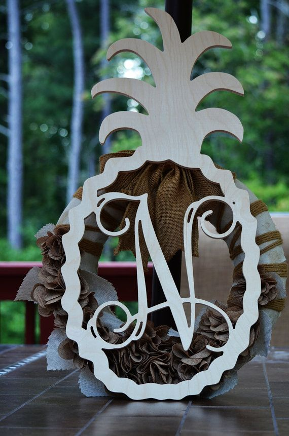 Pineapple Monogram Welcome Wood Shape 26 Quot Wood Initial