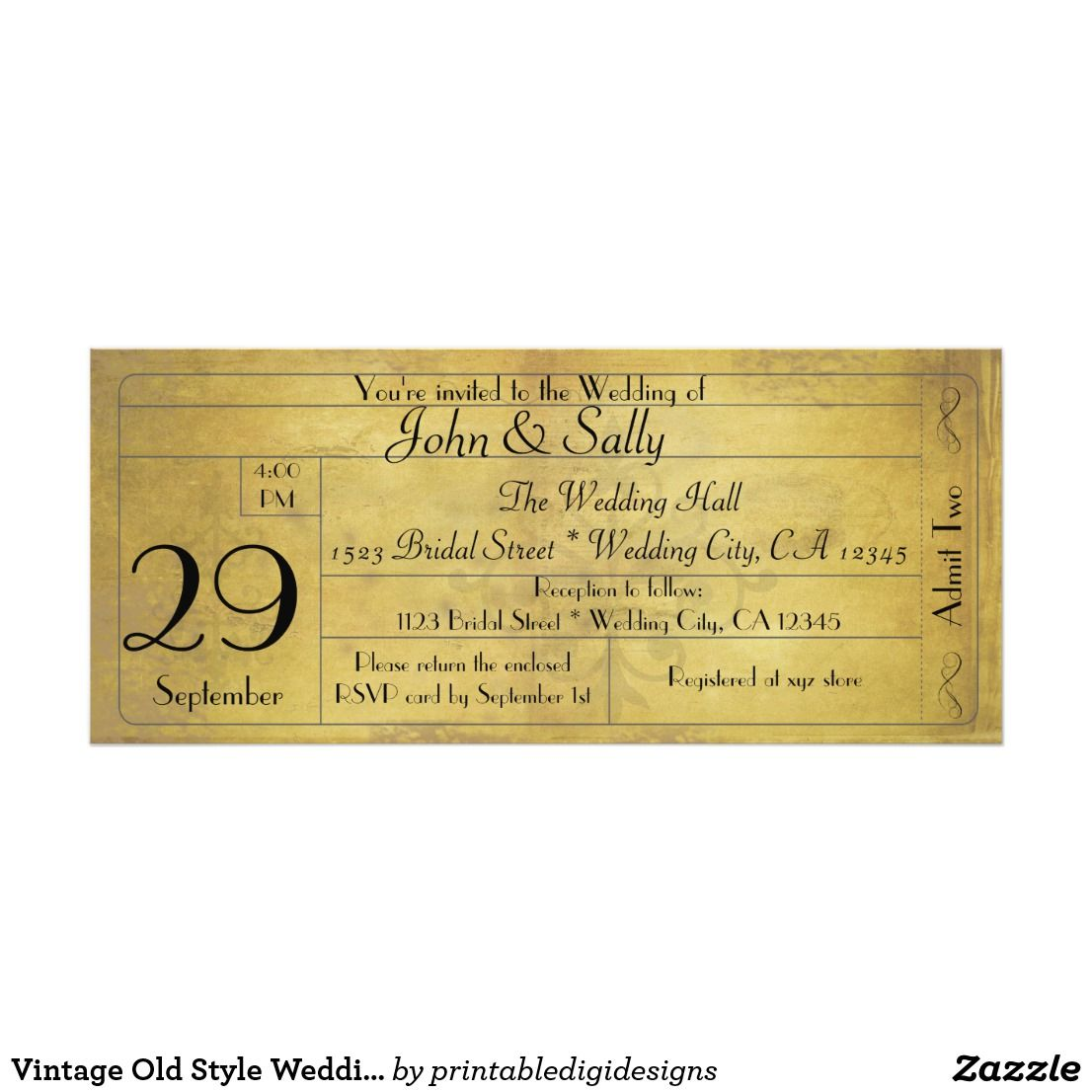 Vintage Old Style Wedding Ticket Invitation  Vintage Wedding
