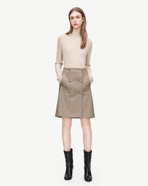 filippa k leather wrap button skirt