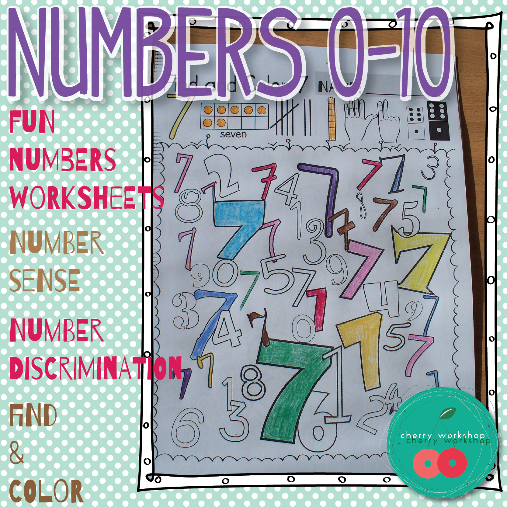 Numbers Worksheets 0-10. Find and color the numbers. Different fonts ...