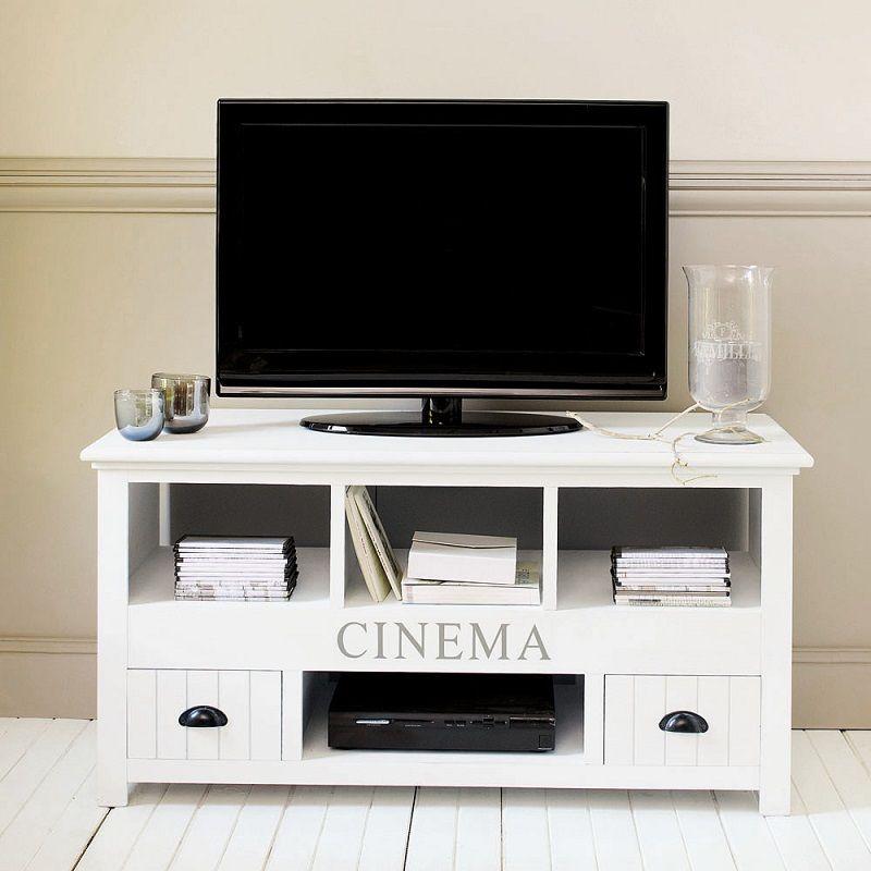 Meuble Tv En Bois Blanc Newport Meuble Tv Maisons Du Monde
