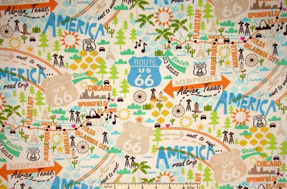 All American Road Trip Route 66 Route Map Fabric 4314-33 from | Etsy