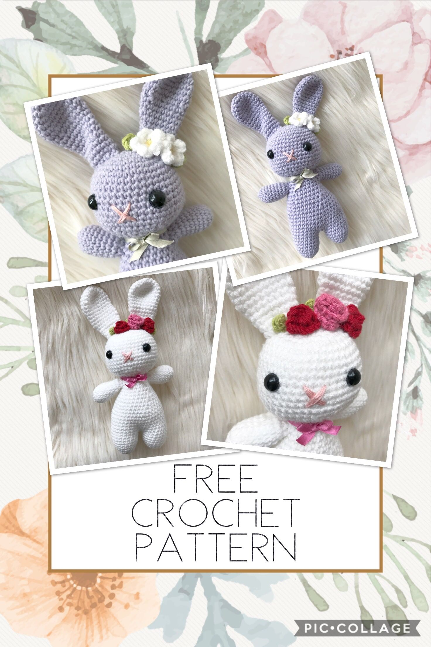 Free Easter bunny amigurumi crochet pattern with a floral flower ...