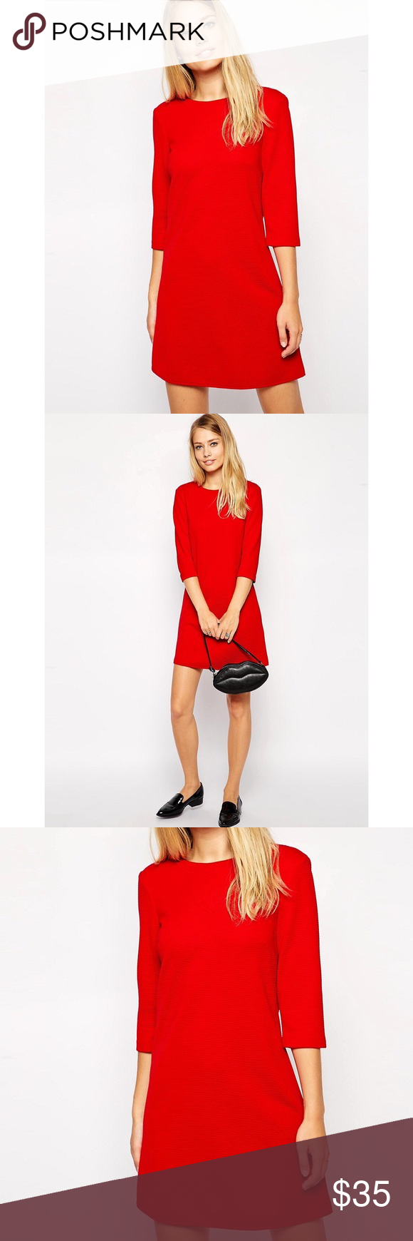 Asos red shift dress in textured rib sleeves sassy