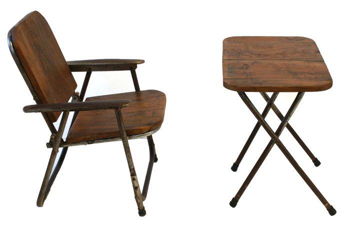 Mesa y silla de playa en estructura de aluminio pero con madera