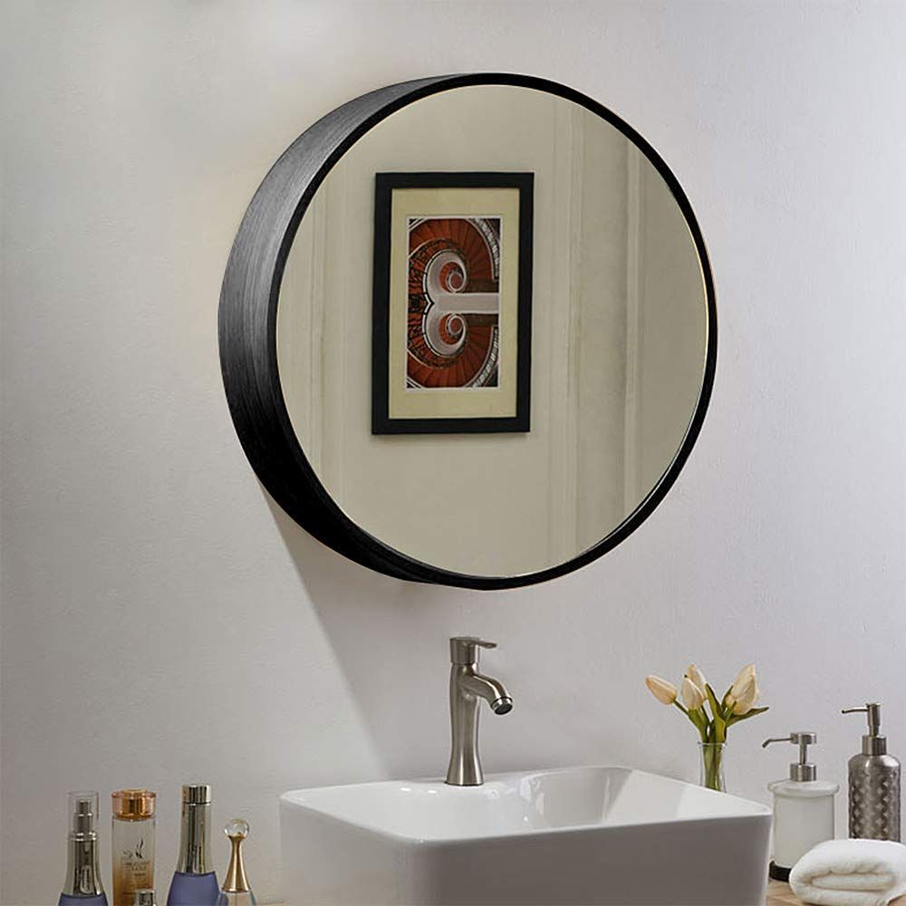 Tinytimes 23 63 Wooden Round Mirror Cabinet Round Vanity Mirror Medicine Cabinet Strong And Heavy Bathr Mirror Cabinets Round Mirror Bathroom Round Mirrors
