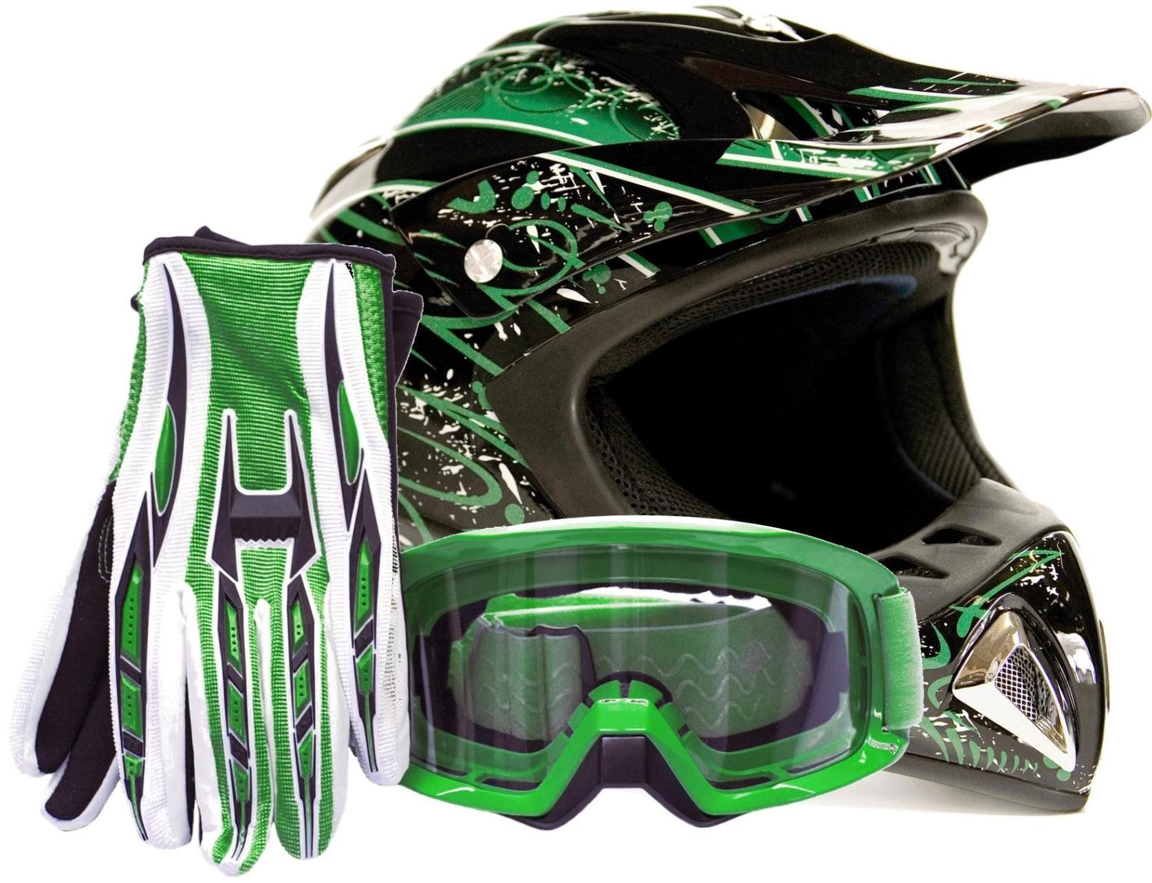 Adult offroad helmet goggles gloves gear combo dot