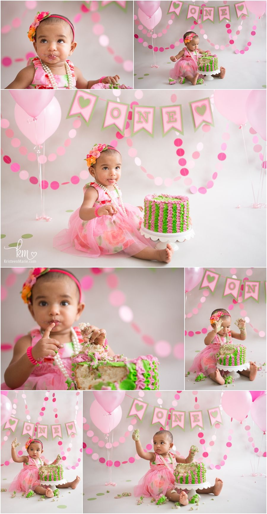 pink and green 1st birthday theme pink cake smash session