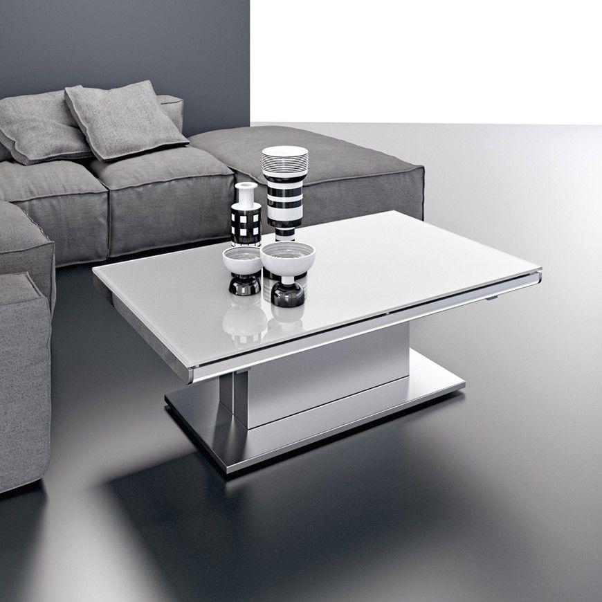 Upper table basse transformable plateau relevable laqu noir meubles salon turenne coffee - Table haute et basse ...