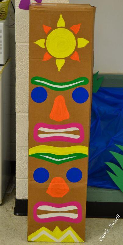 Totem pole painted on cardboard box. Cheap luau decorations. & Totem pole painted on cardboard box. Cheap luau decorations. | Luau ...