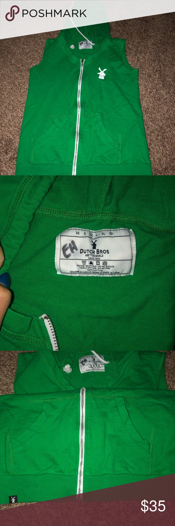 Green zip up Dutch Bros vest Medium green zip up sleeveless hoodie. Does have sharpie initials in it but other than that great condition only worn a handful of times. dutch bros Tops Tank Tops #dutchbros Green zip up Dutch Bros vest Medium green zip up sleeveless hoodie. Does have sharpie initials in it but other than that great condition only worn a handful of times. dutch bros Tops Tank Tops #dutchbros