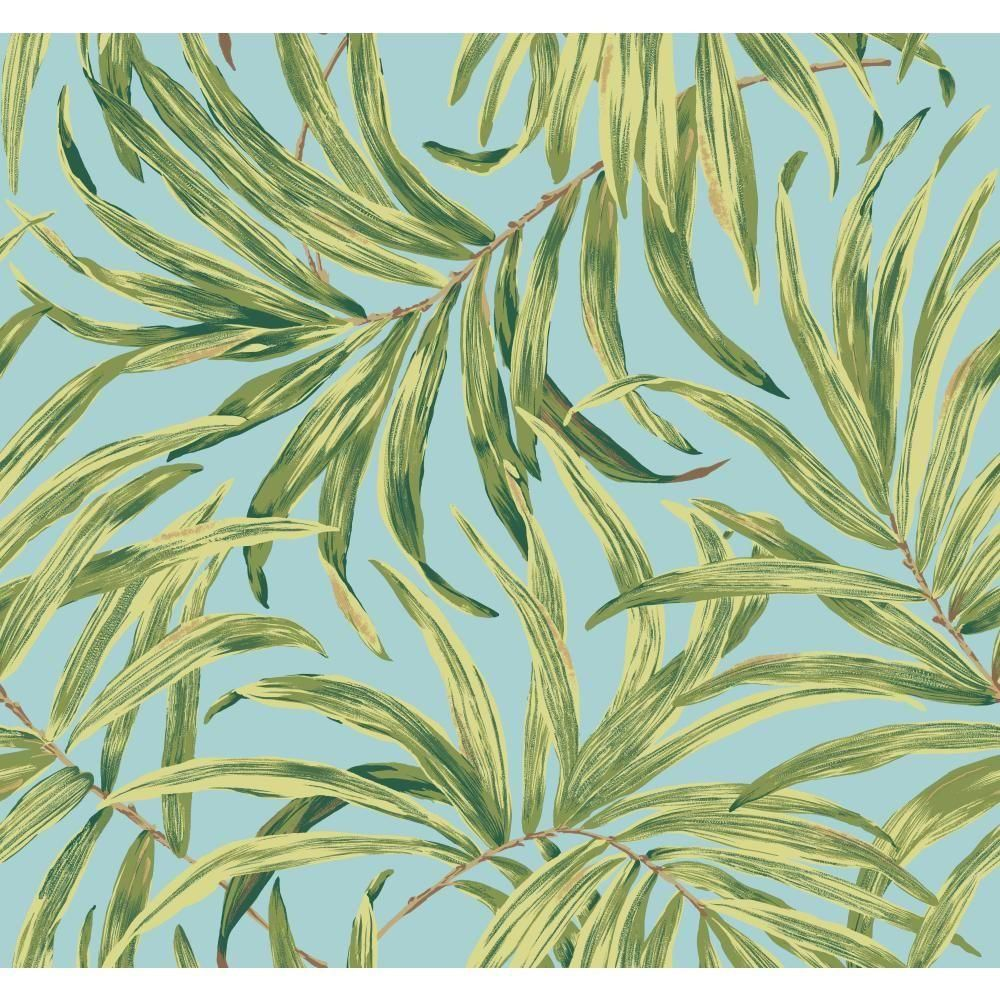 York Wallcoverings Tropics Bali Leaves Wallpaper, aqua