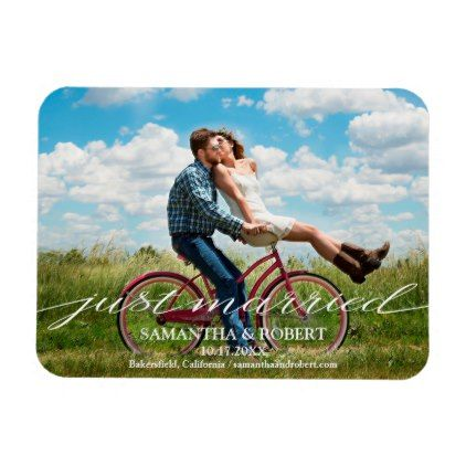 Save The Date Just Married Photo Invitation Magnet Weddingmagnets Wedding Magnets