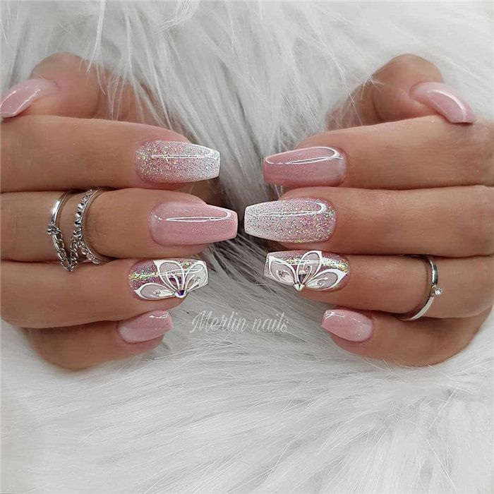 Gel Nails For Christmas 2019: Wedding Natural Gel Nails Design Ideas For Bride 2019