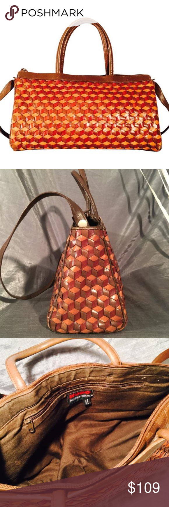 HOBO international vintage woven leather satchel Stunning rare ...