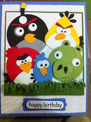 Feelin Scrappy Angry Birds Birthday Card Kids Birthday Cards Kids Cards Card Making Birthday