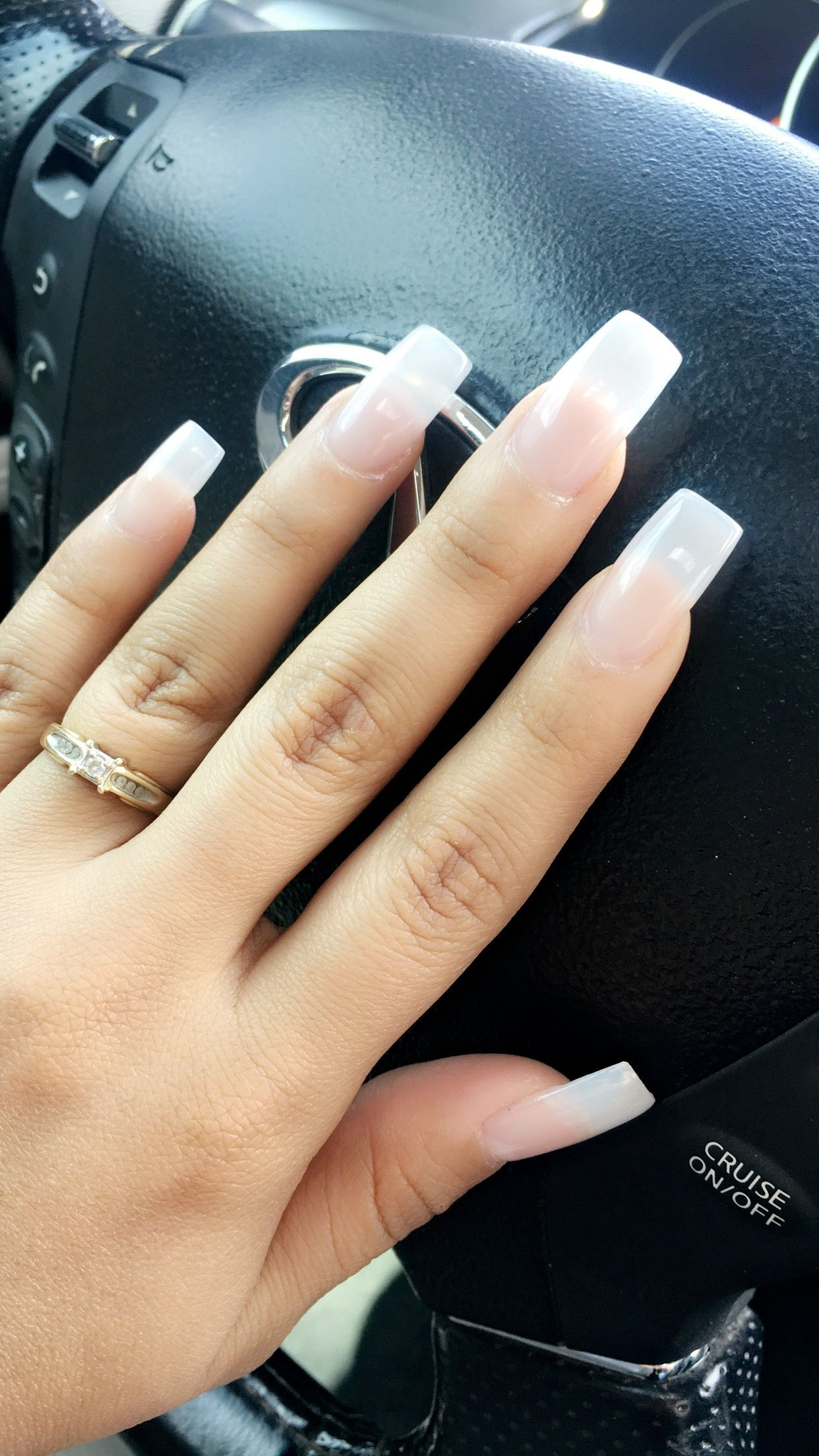Natural Looking Nails In Love With Them Acrylic Square Shape Clear Powder And Gel