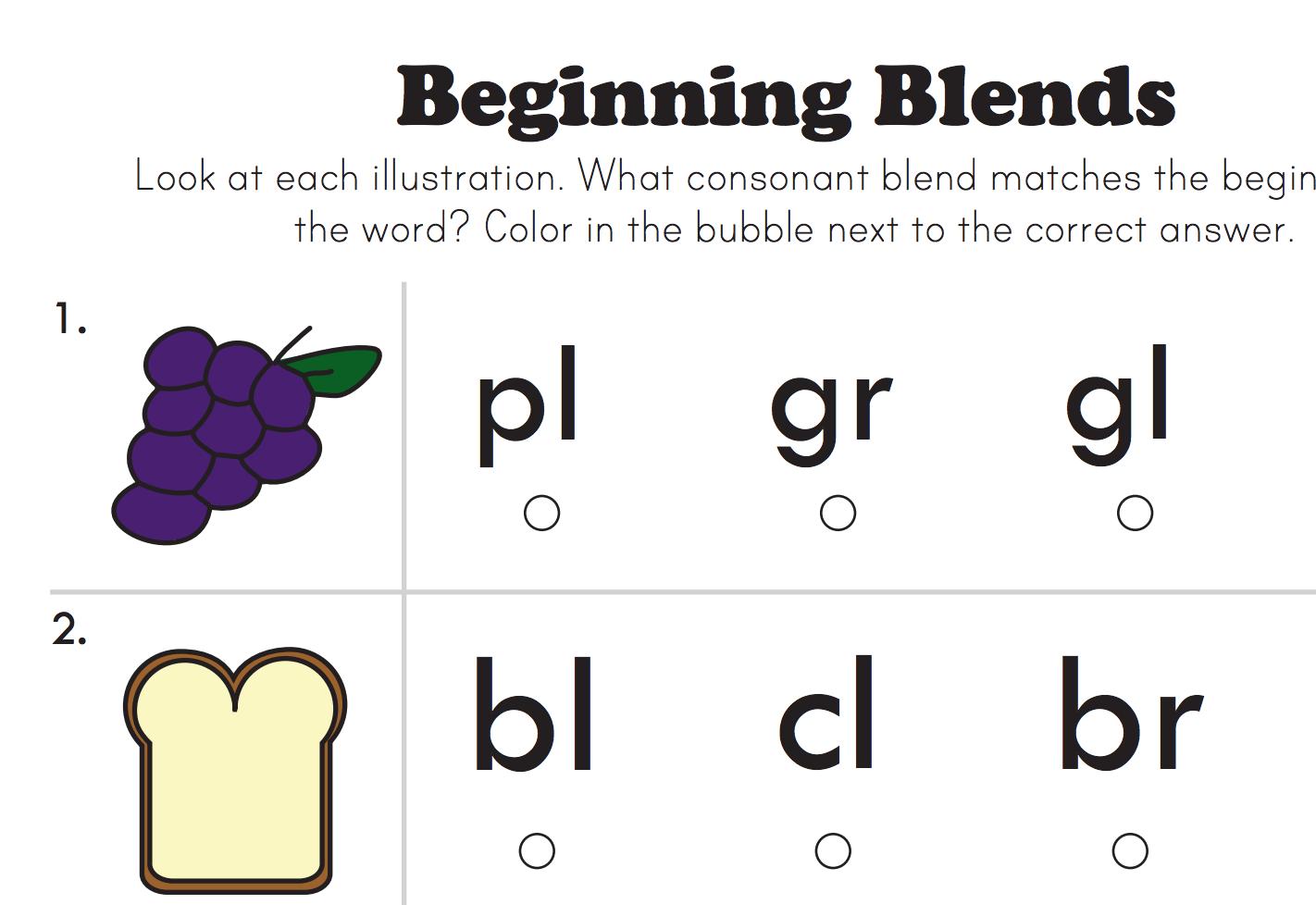 Beginning Consonant Blends Worksheet