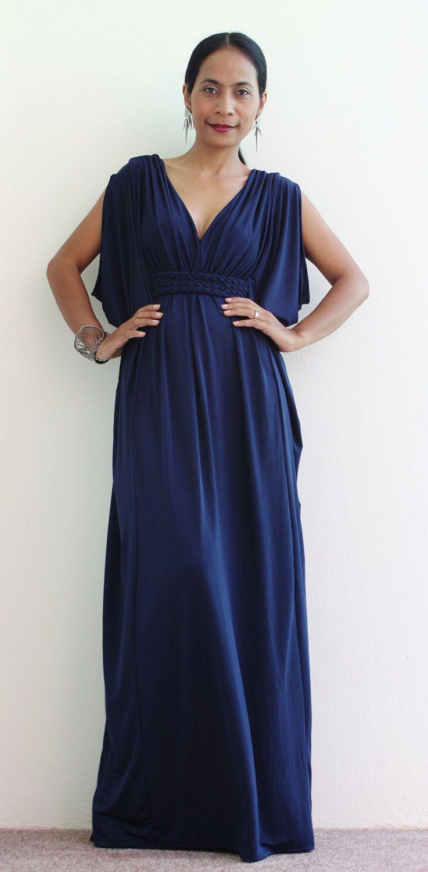 Navy blue dress funky kimono butterfly tube maxi dress elegant