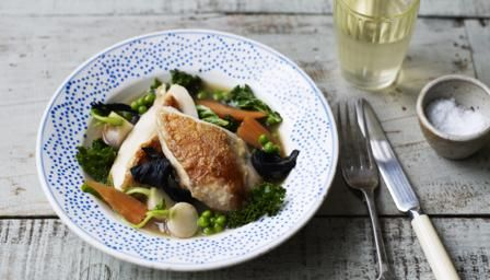 Poached chicken makes a deliciously healthy dinner, served with baby turnips, baby carrots,  mushrooms and curly kale for a touch of class.
