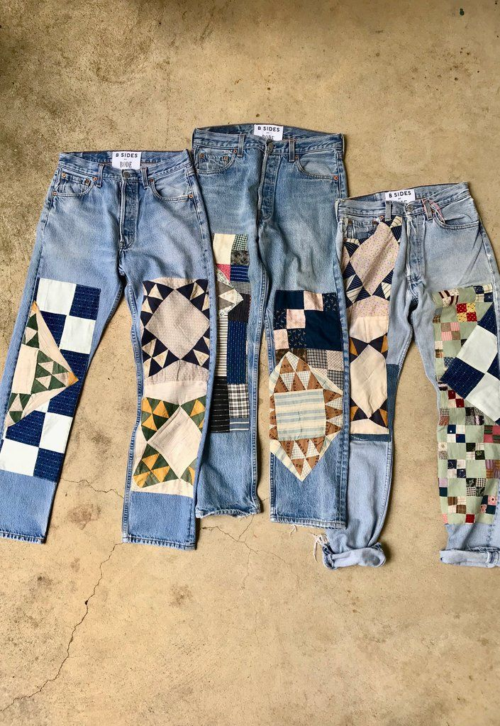 The B Sides X Bode Quilt Patchwork Jean Is Patch Worked Denim Sourced From Antique American Quilts The Authenti Denim Design Upcycle Clothes Patchwork Clothes