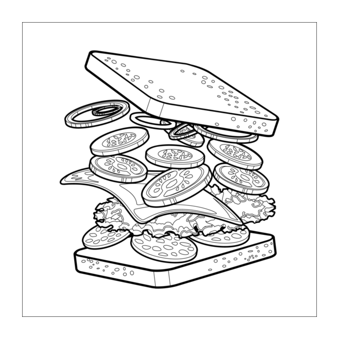 Sandwich With Cheese Food Coloring Image Picture To Print Amp Color Colorain Free Mobil Free Coloring Pages Free Printable Coloring Pages Coloring Pictures