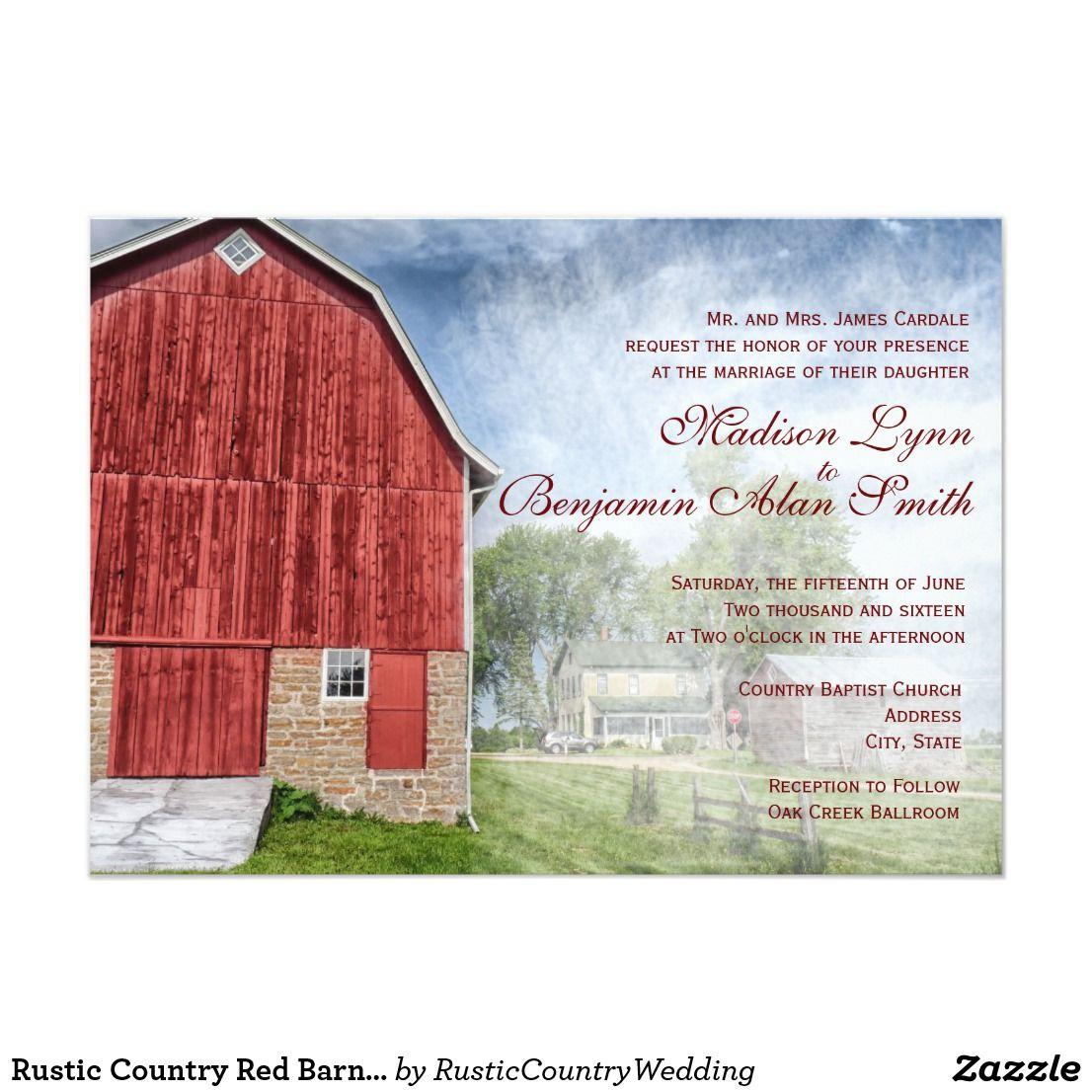 Rustic Country Red Barn Farm Wedding Invitations | Red barns, Barn ...