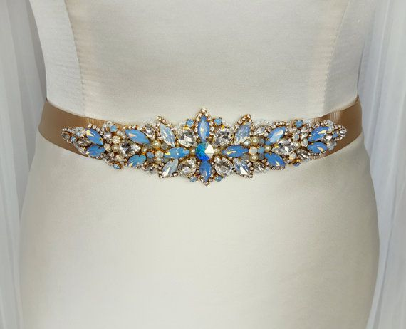 Blue Belt Sash Something Bridal Gold Opal Wedding Handmade
