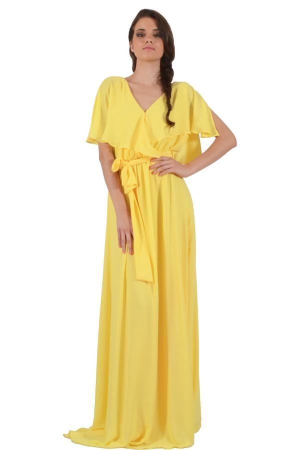 425e2c9230ec Φόρεμα διαφάνεια μακρύ σε άνετη γραμμή με V λαιμό εμπρός και πίσω σχέδιο  κρουαζέ και ζώνη στην μέση