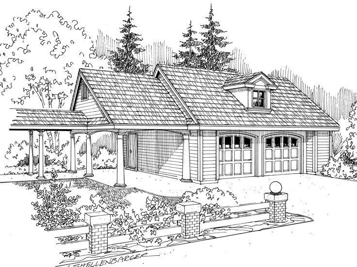 051G0015 Double Garage Plan with Carport Garage plans