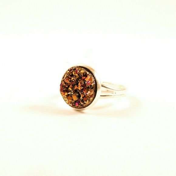 AB Faux Chunky Druzy Ring, Adjustable Ring This silver plated adjustable handmade ring features a beautiful faux 12mm AB druzy cabochon as the focal point. This is the perfect ring for any occasion. Jewelry Rings