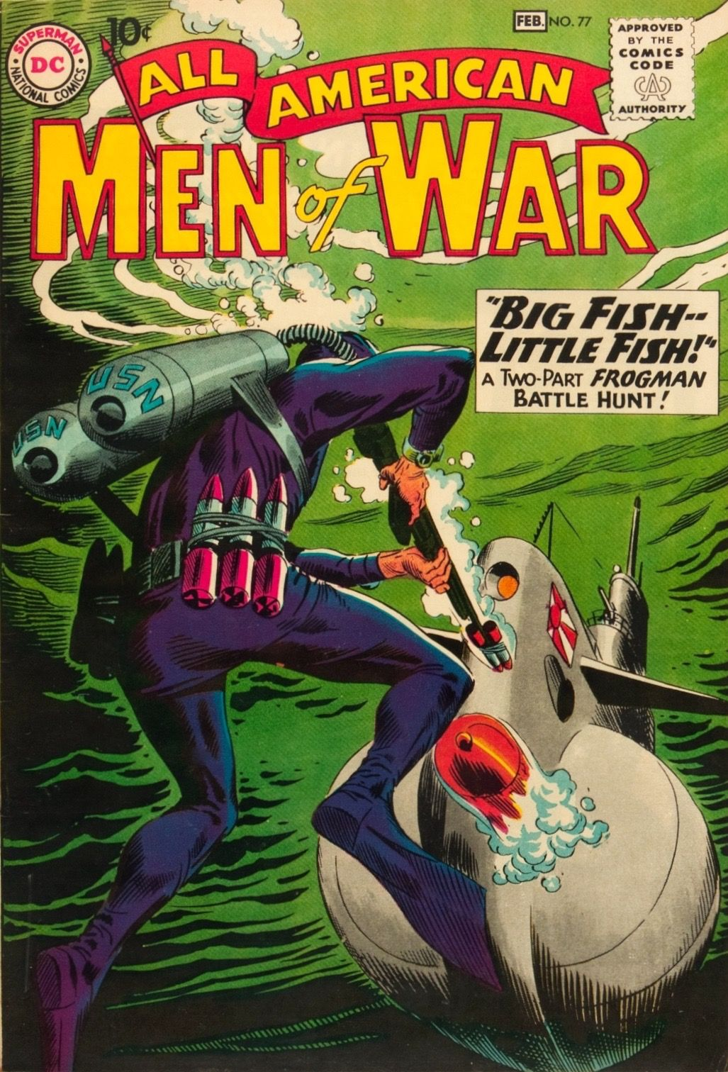 All-American Men of War #77 (1960).  Cover art:  Joe Kubert.  The Best UNDERWATER Comic Book Covers -  A collection of some of the top underwater comic book covers ever created - album by BATCAVE DWELLER!