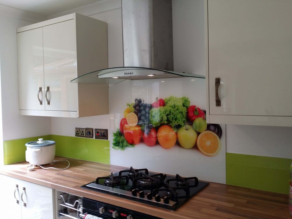 Fruits and Veggies printed glass kitchen splashbacks by CreoGlass Design  (London,UK).