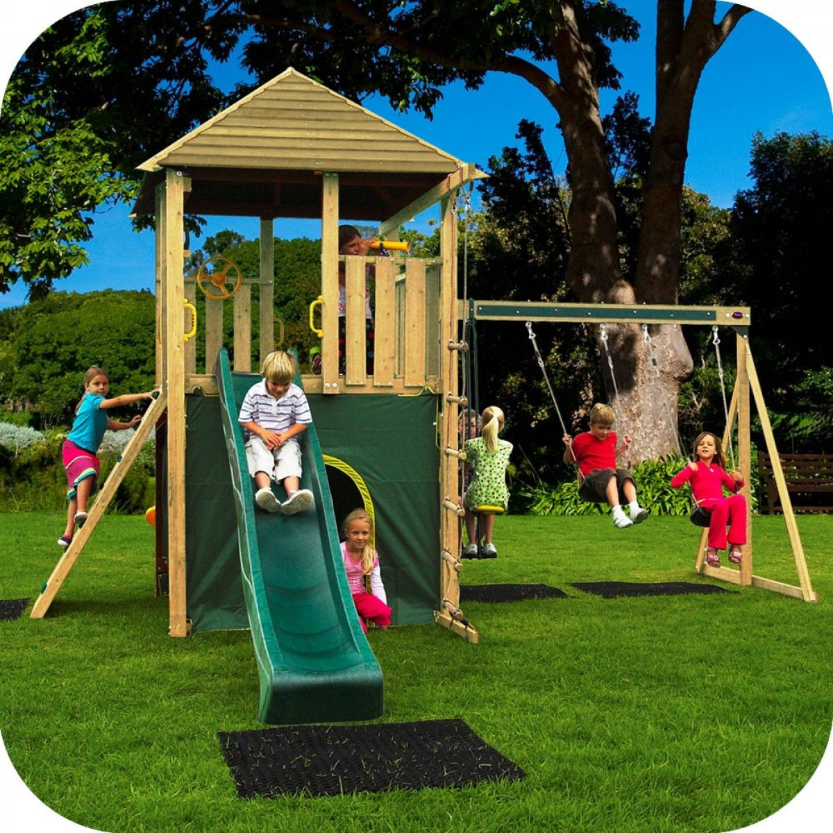 Plum® Warthog Wooden Climbing Frame Outdoor Play Centre with Double ...