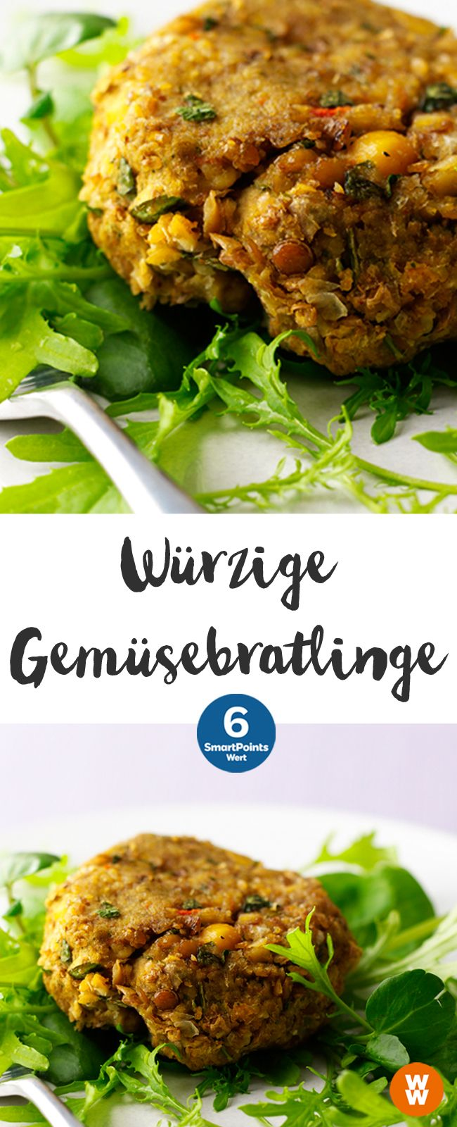 Würzige Gemüsebratlinge | 4 Portionen, 6 SmartPoints/Portion, Weight Watchers, fertig in 40 min. #veganerezeptemittag