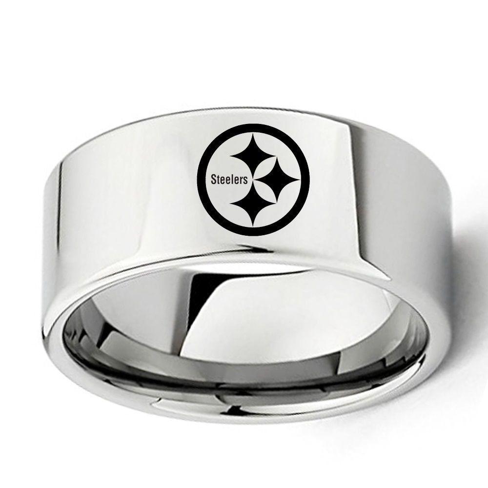 Pittsburgh Steelers Football Logo 8mm Tungsten Carbide Silver Wedding Band Ring Mens Wedding Rings Tungsten Silver Wedding Bands Silver Tungsten