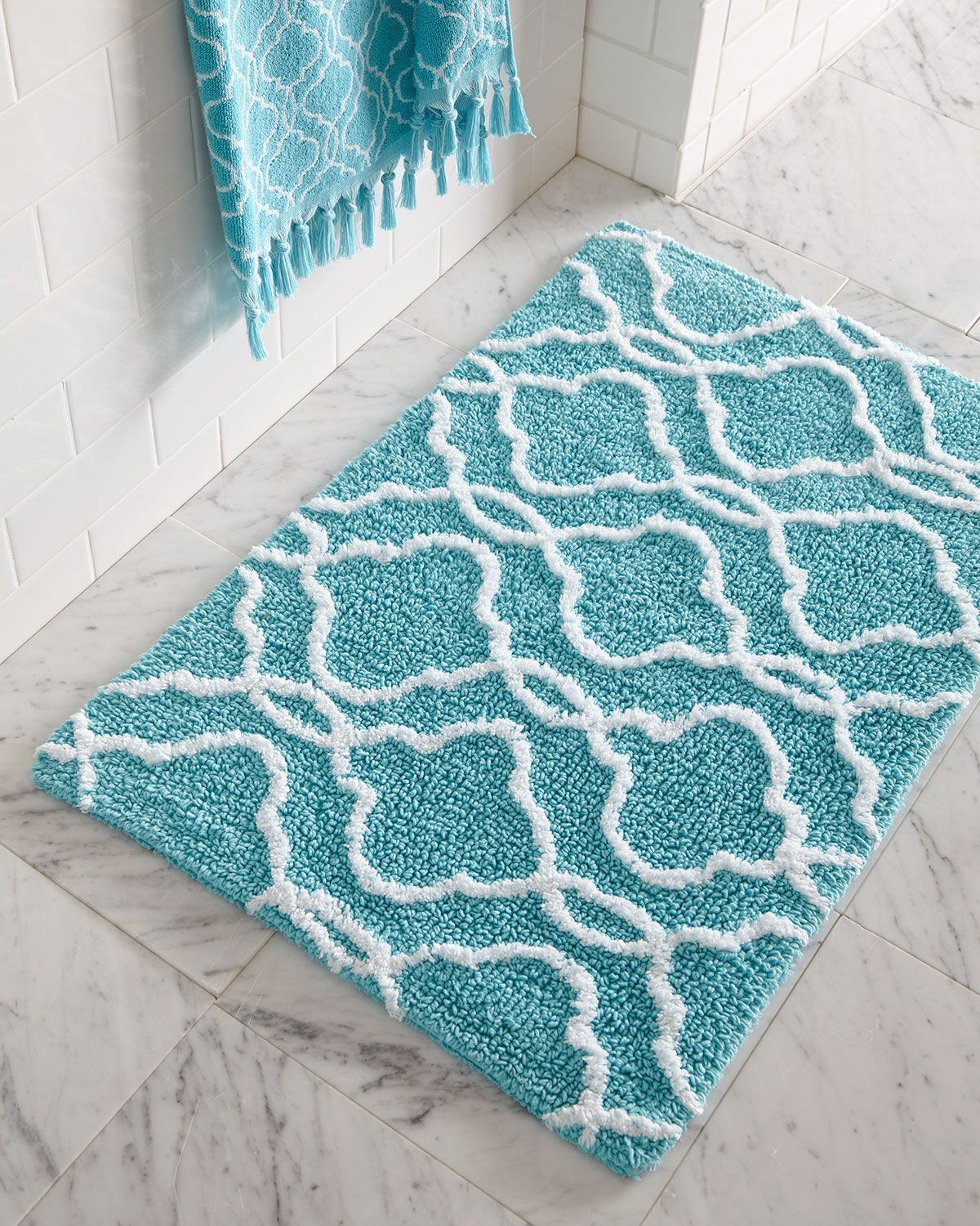 Dena Home Tangiers Bath Rug Design Style Coastal Rhythms - Turquoise bathroom rugs for bathroom decorating ideas