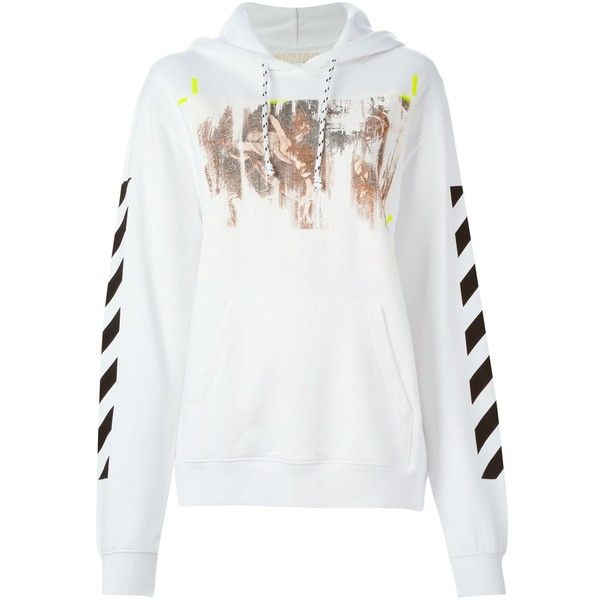 Off-White Caravaggio Print Hoodie (1.490 BRL) ❤ liked on Polyvore featuring tops, hoodies, white, print hoodie, cotton hooded sweatshirt, white hoodie, white cotton tops and patterned tops