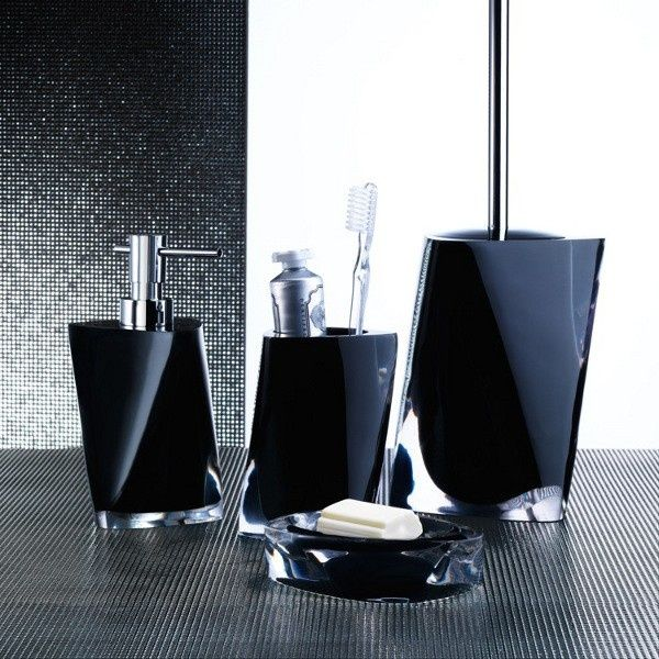 Twist Black Bathroom Accessory Set Twist Black Bathroom Accessory Set  Includes  Soap dish Toothbrush holder Soap dispenser Toilet brush holder  Made out of. Twist Black Bathroom Accessory Set Twist Black Bathroom Accessory