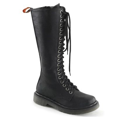 Womens RIVAL400 Knee High Combat Boots is part of Clothes Hipster Combat Boots - Demonia Rival 400 Product Information Womens 20eyelet combat boots with silver eyelets and side zipper   Rival 400 Details  Material  Synthetic Upper (Vegan) Brand  Demonia Sizing Chart