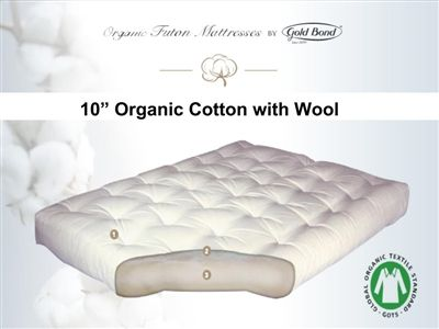 10 Organic Cotton Wool Futon Mattress By Gold Bond 336 In Twin