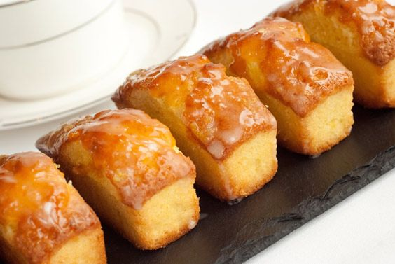 Mini Lemon Drizzle Loaf Cakes Wrapped In Clear Cellophane
