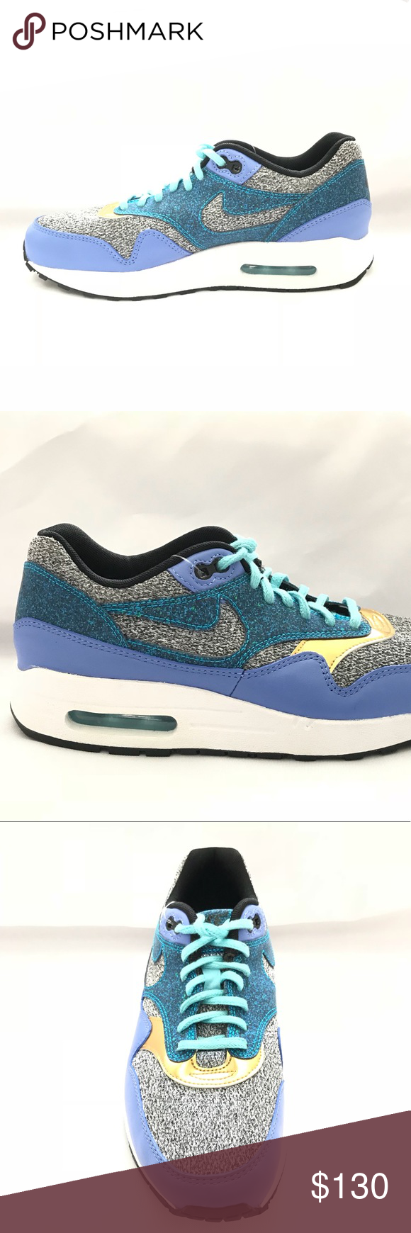 040283125030 Nike Air Max 1 SE Blue Purple Green Gold Women Women s Nike Air Max 1 SE