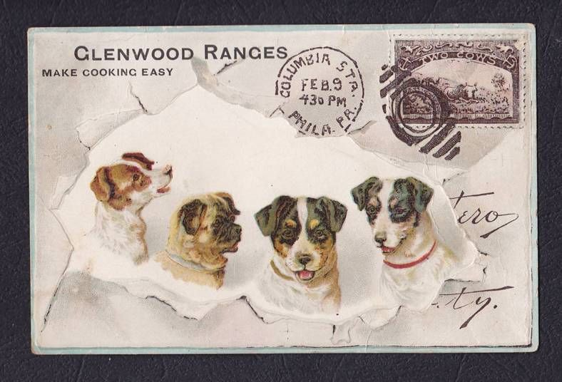 Embossed Victorian Trade Card Glenwood Ranges Stamp Pa Envelope Art Animals For Kids Lithograph