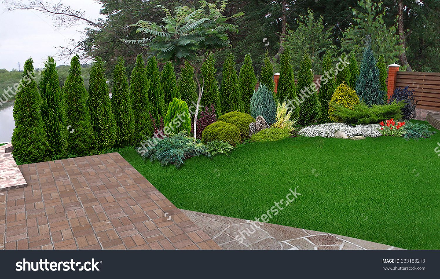 Garden Design with Landscaping Evergreen Privacy Screen, d Render ...