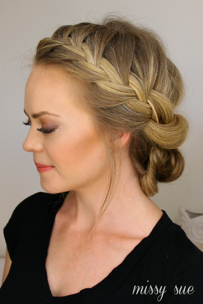 Tuck And Cover French Braid Half With A Bun Hairstyles