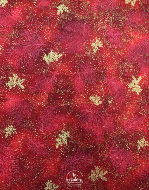 La Retalera Patchwork - tela de Navidad 100% algodón Rojo y dorado de Robert Kaufman