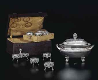 A SET OF SIX LOUIS XVI SILVER SALT CELLARS WITH GLASS LINERS, 1778